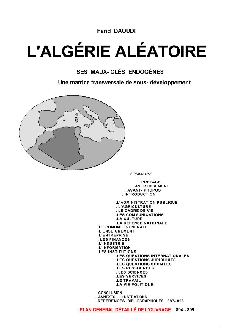 Titre & Sommaire du livre «l'Algérie Aléatoire»